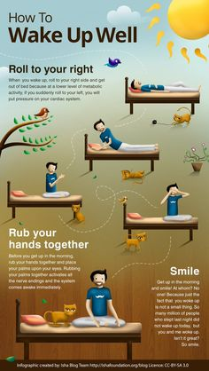 Infographic - Tips to Wake Up Well - Gesunde Gewohnheiten - Health Health Facts, Health And Nutrition, Health Tips, Health Fitness, Health Yoga, Fitness Facts, Brain Health, Health Articles, Sports Challenge