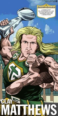 Clay Matthews The League of Lambeau by Green Bay Press-Gazette Media editorial cartoonist Joe Heller. The 2013 iconic Green Bay Packers caricatures look back at the storied history of the NFL's oldest franchise. Green Bay Packers Cheesehead, Packers Baby, Packers Football, Best Football Team, Funny Football, Greenbay Packers, Clay Matthews Iii, Football Conference, Nfl Green Bay