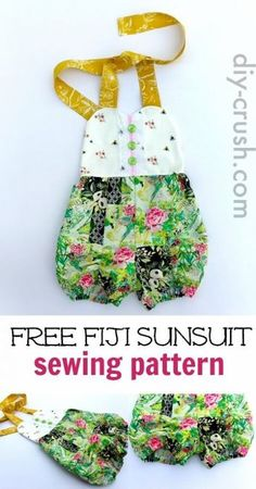 Sunsuit Pattern for babies up to size 6 girls. Sew this one for summer. Download it today before it's gone | DIY Crush