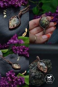 Metallic Luster, Protection Necklace, Copper Color, Wire Wrapped Pendant, Copper Jewelry, Wire Wrapping, Labradorite, Gifts For Her, Brooch