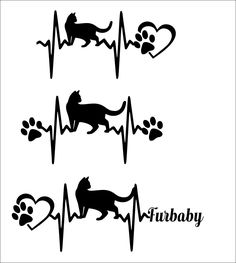 SVG Cut FileCat Heartbeat paw with heart- Scrapbook,  Tshirt Tote Silhouette PDF, Dxf by TheLazyIdesigns on Etsy