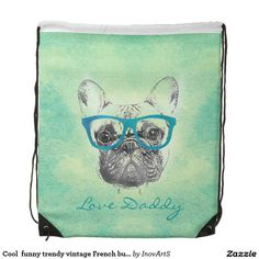 Cool  funny trendy vintage French bulldog  puppy Drawstring Bag