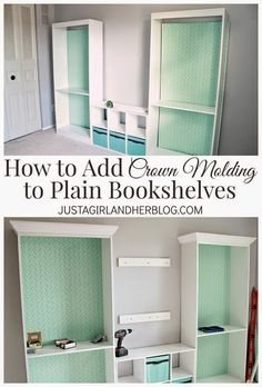 Best DIY Projects: How to add crown molding to bookshelves for an upscale look-- such an easy project with a BIG impact!