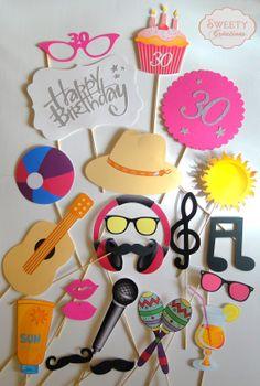 Kit photobooth anniversaire, plage et musique  photobooth props birthday, beach…