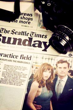 """ Anastasia Steele and Christian Grey on page one of the Seattle Times. """