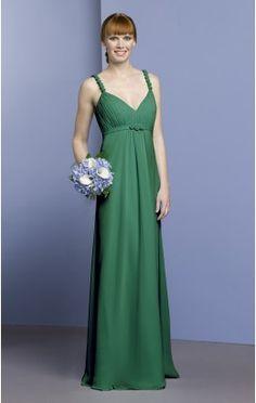 Wholesale Sheath Floor-length Straps Dark Green Chiffon Dress