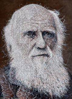 'Charles Darwin' - by Alexi Torres;  painted to look like it has been woven on the canvas   ...I like the pattern for the skin – so interesting...
