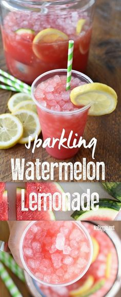 it's watermelon season! Make this ultimate summer drink: Sparkling Watermelon Lemonade and don't forget the pebble ice. Refreshing Drinks, Fun Drinks, Healthy Drinks, Healthy Recipes, Healthy Snacks, Bariatric Recipes, Healthy Breakfasts, Summer Beverages, Protein Recipes