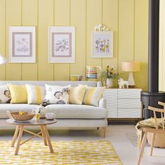 Daffodil yellow living room with Scandi style | Daffodil decorating ideas…
