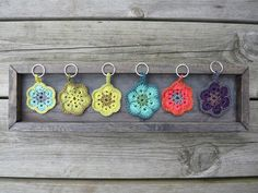 Crochet-Great tutorial link to make these crocheted key chains.
