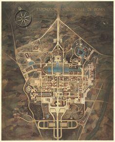 Ente Autonomo Esposizione Universale Roma - Servizio architettura parchi e giardini - Assonometria generale del piano urbanistico dell'E42 1940