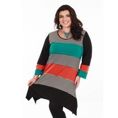 Firmiana Women's Plus Size Long Sleeve Multi Color Tunic (Black Multi 1X)
