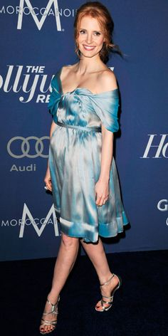 Jessica Chastain in Vivienne Westwood dress and Casadei shoes - At The Hollywood Reporter's pre-Oscars event.  (February 2012)