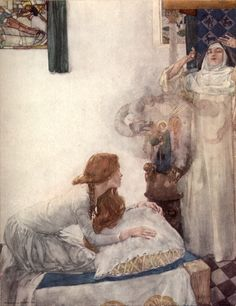 Morgan le Fay was put to school in a nunnery, and there she learned so much that she was a great clerk of necromancy by: Sir W. Russell Flint (Artist) from: Le Morte Darthur: The History of King Arthur and his Noble Knights of the Round Table (Facing p. 8) -  n.d. [1927]