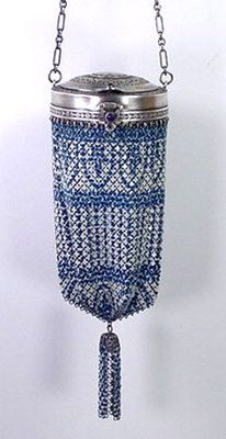 Antique 1920s Jeweled Flapper Enamel Mesh Vanity Compact Bag Purse‏‏ w/ Tassel