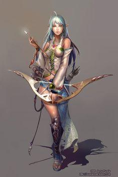 Female elf warrior with cyan hair
