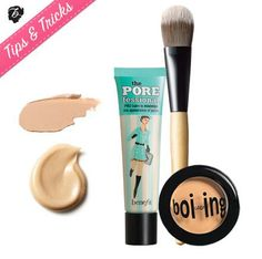 Take the 60-second challenge to airbrushed skin. Mix equal parts POREfessional and boi-ing concealer. Using a foundation brush, apply to your t-zone and cheeks to magically hide imperfecions, shine & redness. It's like magic for your face. #tipsandtricks #benefitbeauty