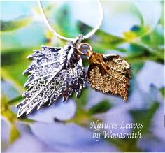 Real Birch leaf jewelry, silver and gold leaves, Natures leaves by WoodSmith $21.95, via Etsy.