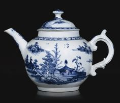 A rare Vauxhall blue and white teapot and cover, circa 1755-58 Sotheby's