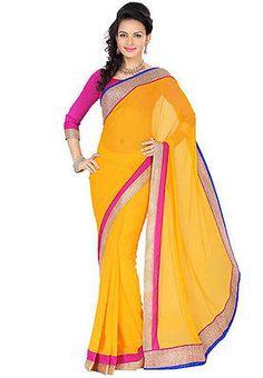 Indian Wedding Chiffon saree Yellow sari Georgeet Bollywood Saree Pakistani Sari