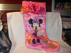DISNEY MINNIE MOUSE PINK SATINY HOLIDAY STOCKING  NEW WITH TAG Minnie Mouse Pink, Rubber Rain Boots, Stockings, Disney, Holiday, Fun, Socks, Vacations, Holidays