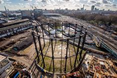 Pancras Gasworks = 23 gasometers ( or gas holders, not gasholders ) from 1860s. The new Gasholder Park will open here, on the banks of Regent's Canal