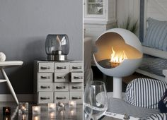 Ilkka Suppanen's tabletop fireplace for Iittala and the portable Globe fireplace from Vauni Tabletop Fireplaces, Portable Fireplace, Artist Bedroom, Home Design Decor, Home Decor, Paint Effects, Glow, Home And Garden, Bulb