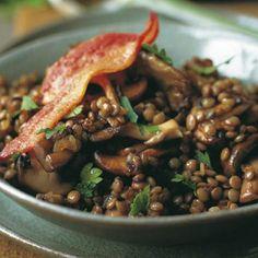 Sautéed Bacon Mushrooms, and Lentils Recipe Recipe