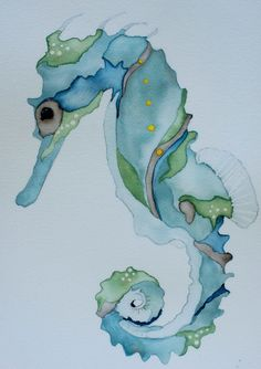 Draw Horses Art Ed Central loves this Nautical watercolor art blue seahorsecrab signed PRINT blue and sea green print by ssbaud on Etsy - Art Watercolor, Watercolor Animals, Horse Watercolour, Watercolor Techniques, Art Techniques, Silk Painting, Painting & Drawing, Pics Art, Painting Inspiration
