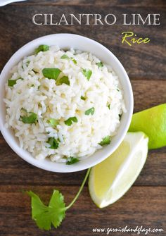 Cilantro Lime Rice: Ingredients 1 cup long-grain white rice 2 cups chicken broth Juice of 1 lime ½ cup cilantro, chopped Place rice and chicken broth in a pot and bring to a boil. Cover, reduce heat to low and cook 20 minutes. (If you have a rice cooker, just combine rice and broth and cook until done.) When rice is done cooking, fluff, and mix in juice and cilantro. Serve immediately (or else cilantro will become wilted and lose its vibrant color).