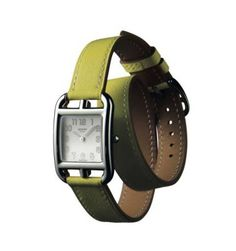 Hermes  Cape Cod  watch in stainless steel   lime leather. 482a23be8d4e4
