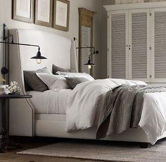 Master Bedroom Bedding, industrial bedside lamps, custom headboard