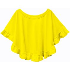 Cotton jersey knit ruffle circle top tee shirt, circle blouse ($22) ❤ liked on Polyvore featuring tops, flutter-sleeve top, cotton jersey, yellow top, flounce top and frilly tops