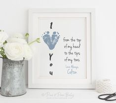 First Father's Day Gift for New Dad From Baby, I Love You Footprint Heart, Personalized With Your Child's Feet. Diy Father's Day Gifts From Baby, Homemade Fathers Day Gifts, First Mothers Day Gifts, Mothers Day Crafts For Kids, Gifts For New Dads, Fathers Day Crafts, Dad Gift From Baby, Toddler Fathers Day Gifts, Teen Gifts