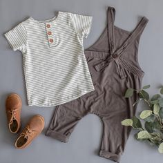 ash overalls // grey overalls // grey stripes henley tee // haven kids // #babyfashion #bohobabyclothes #kidsfashion #bamboo #springfashion #vintagebabyclothes #timelesskidsclothes #adelisaandco
