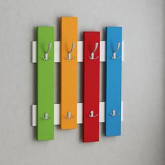Appendiabiti+da+parete+Boards+in+legno+Bianco+Rovere+Multicolor+