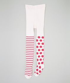 Take a look at this Pink & Hot Pink Stripe Polka Dot Tights - Infant, Toddler & Girls by Naartjie on #zulily today!