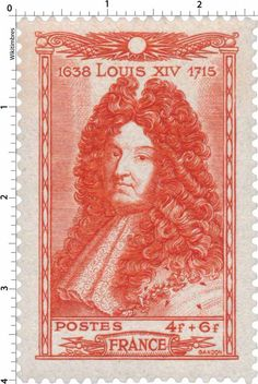 Timbre 1944 : LOUIS XIV 1638-1715   WikiTimbres Old Stamps, Rare Stamps, Louis Xiv, Stamp World, French History, Stamp Collecting, Postage Stamps, Statue, Old Things