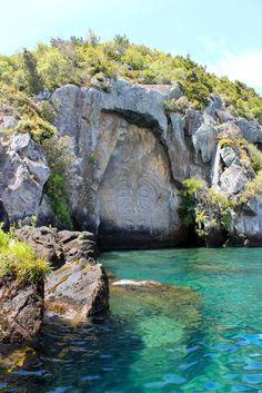 Maori carvings on Lake Taupo, NZ