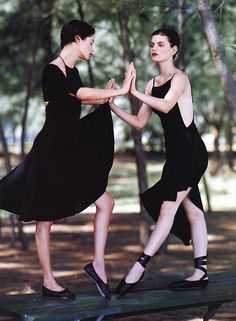 """Shall we dance?"" Guinevere van Seenus and Carolyn Murphy by Bruce Weber for Vogue US February 1997"