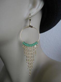 Hoop Chain Earrings  Emerald by pattimacs on Etsy, $17.00