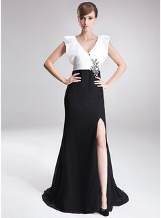 f872c450f253 A-Line Princess V-neck Sweep Train Chiffon Charmeuse Mother of the Bride  Dress With Beading Sequins Split Front - JJsHouse