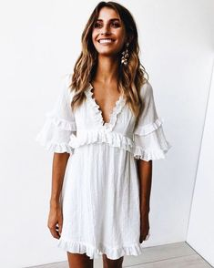 ee2ea015f0fd White linen, baby doll dress with ruffles. This girly summer or spring  outfit is perfect for an casual or dressy occasion. White linen, baby doll  dress with ...