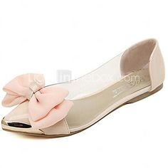 Women's Spring / Summer / Fall Pointed Toe Polyester Dress / Casual Flat  Heel Bowknot / Metallic toe / Split Joint Pink / White