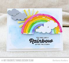 Handmade card from Barbara Anders featuring Stitched Rainbow Die-namics #mftstamps