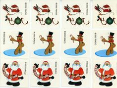 "12 Holiday Temporary Tattoos by RINCO. $0.50. Each tattoo is 1-1/2"" square. Makes great stocking suffers. 12 Holiday Temporary Tattoos"
