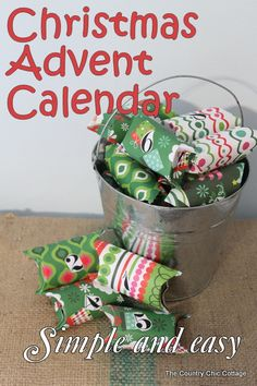 Easy Christmas Advent Calendar Made With Toilet Paper Rolls from The Country Chic Cottage