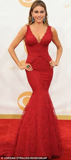 Curvy in red: Sofia Vergara sizzled in a bright Vera Wang plunging structured gown