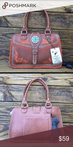 """Montana West Concealment Purse Concealed Carry Handbag Gun pocket in back Brown 9"""" x 13"""" Studded with metal rhinestones and turquoise Embroidered design Regular price $79.99  Bundle and save !!   Michael Kors, coach, Louis Vuitton, pocketbook, guess, Tommy Hilfiger, leather, Bags Shoulder Bags"""