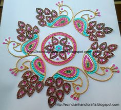 EC Indian Handicrafts' (Customised kundan rangolis): Peacock design kundan rangoli
